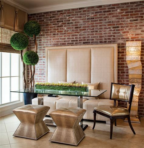wall decor contemporary centerpieces for dining room 50 bold and inventive dining rooms with brick walls