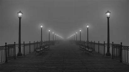Street Lights Landscape Bench Monochrome Fence Desktop