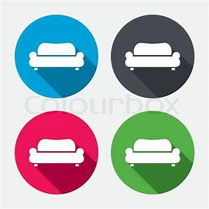 Comfortable Sofa Sign Icon  Modern Couch Furniture Symbol