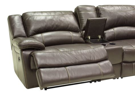 modern leather sectional sofa with recliners mahogany full leather 4pc modern sectional reclining sofa