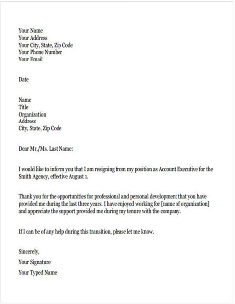 teacher resignation letter samples  templates