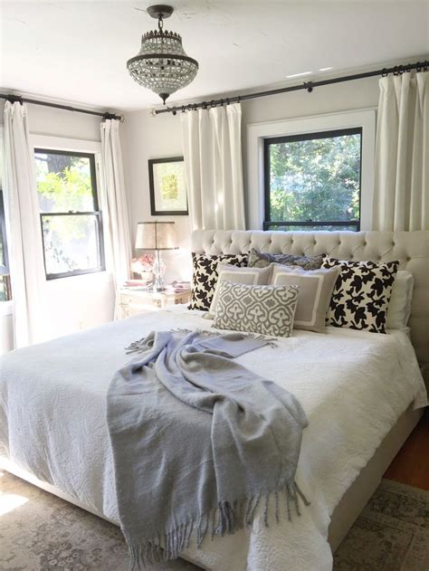 neutral bedroom window  bed farmhouse bedroom