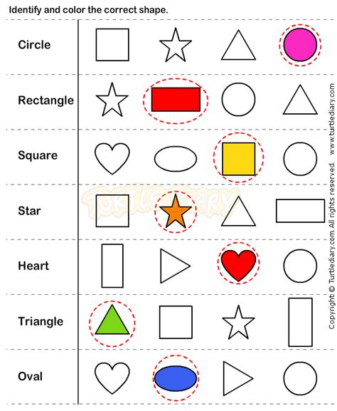 identify color identify and colour the correct shape sorting colours