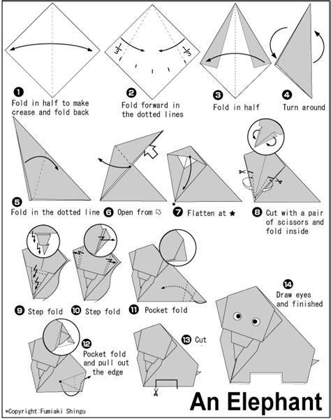Elephant Easy Origami Instructions For