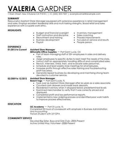 assistant store manager resume format retail assistant manager resume exles related