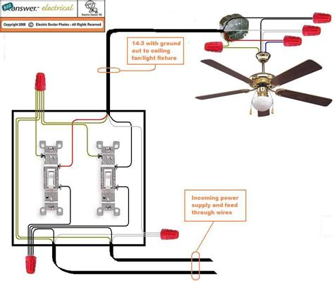 how to wire a ceiling fan switch wiring a ceiling fan with two switches