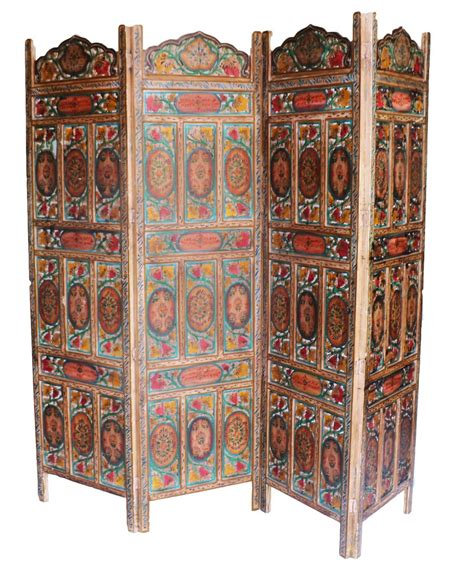 four panel carved indian screen room divider