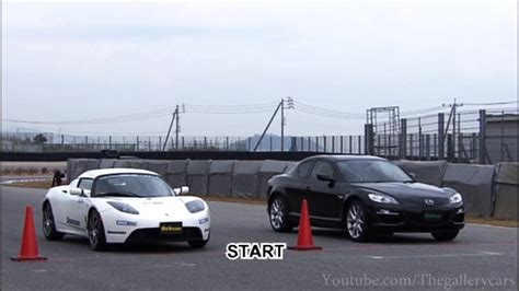 Electric Cars And Gas Cars by Electric Car Vs Gas Car Mazda Rx 8 Vs Tesla Roadster