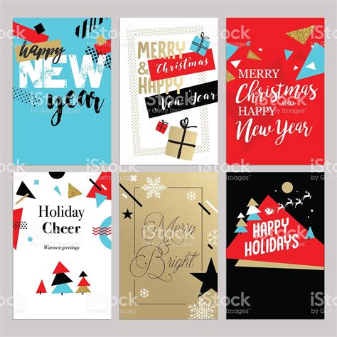 christmas   year flat design greeting cards set