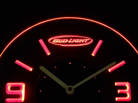 bud light horizontal modern led neon wall clock safespecial