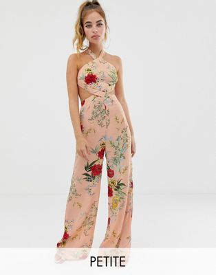 boohoo exclusive wide leg jumpsuit in pink floral with cut out detail asos