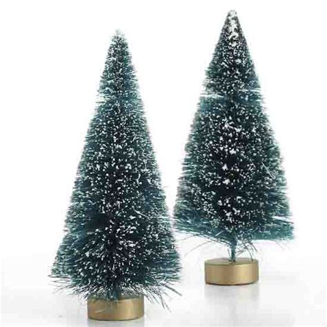 small frosted green bottle brush trees christmas
