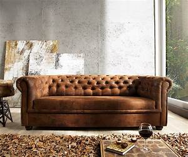 Chesterfield Sofa Wildlederoptik : couch chesterfield braun 200x92 cm antik optik abgesteppt 3 sitzer by delife ebay ~ Indierocktalk.com Haus und Dekorationen