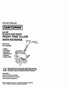 Craftsman Tiller 917 29249 User Guide
