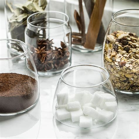 clear glass canisters  lids  glass jars