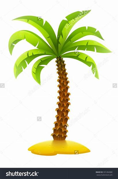 Palm Tree Island Coconut Sand Background Vector