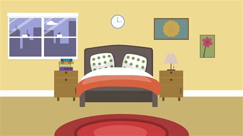 Cartoon Modern Colorful Bedroom Animation With Space For