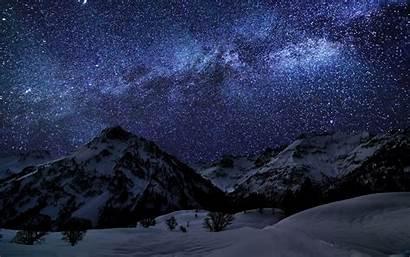 Starry Night Sky Mountain Stars Landscape Snow