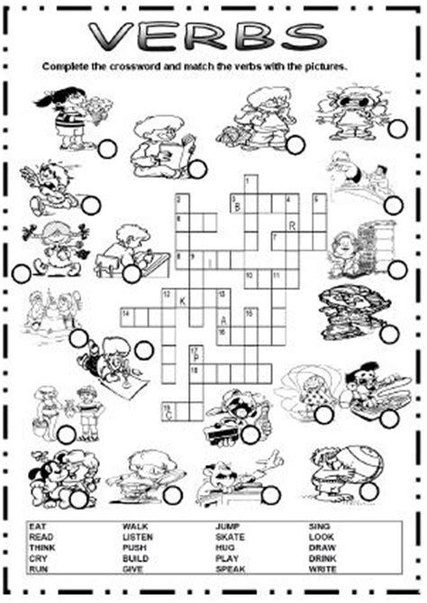 Action Verbs Picture Crossword