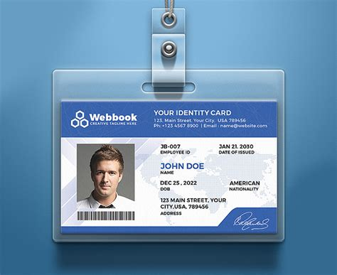 creative id card psd template free download in 4 colors