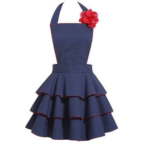 aprons for petite dot party navy apron sexy retro hostess aprons