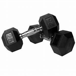 Xmark Fitness Pair Of 25 Lb  Rubber Hex Dumbbells Xm