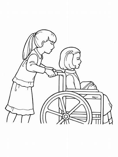 Wheelchair Helping Drawing Primary Children Lds Line