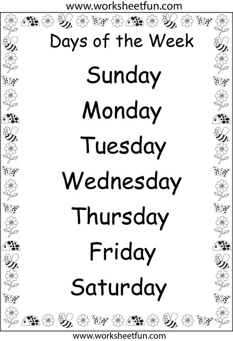 days of the week clipart black and white