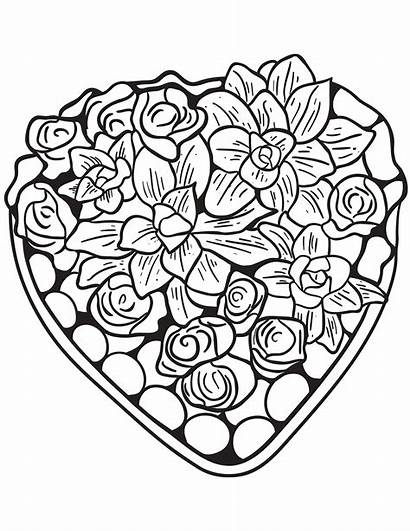 Coloring Hearts Heart Pages Adults Flowers Valentines