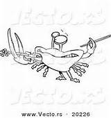 Coloring Crab Playing Fiddler Cartoon Violin Outlined sketch template