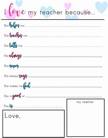 Teacher Printable Because Gift Appreciation Perfect Cards