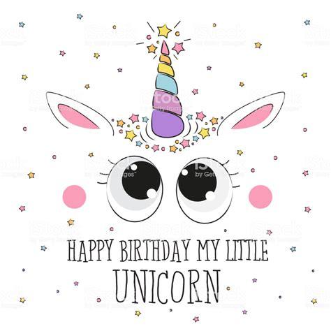 cute happy birthday unicorn card illustration stock vector