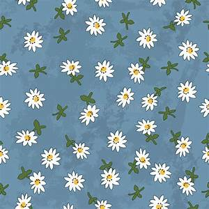 Seamless Daisy Pattern On Navy Grunge Background Stock ...