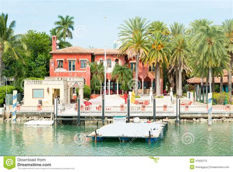luxurious mansion  star island  miami stock photo
