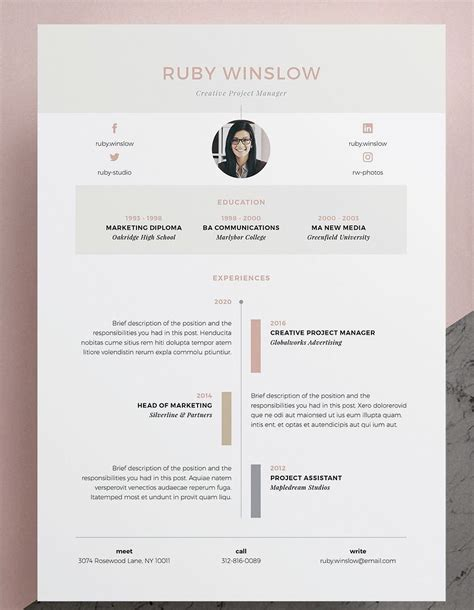 Design Your Own Resume by Resume Cv Template Ruby 3 Page Our Design Ruby
