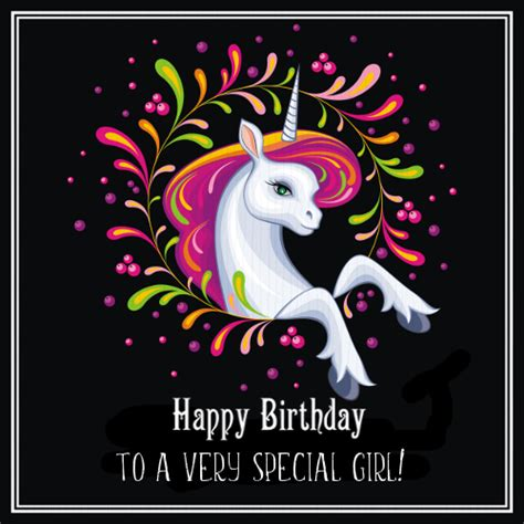 Unicorn Happy Birthday Girl