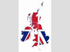 Union Jack flag on UK map stock photo