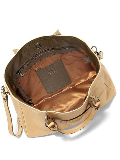lyst longchamp  medium leather tote  brown