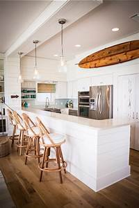 60 inspiring kitchen design ideas home bunch interior for Kitchen colors with white cabinets with vintage surfboard wall art
