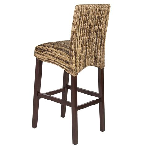bcp set of 2 woven seagrass bar stools mahogany