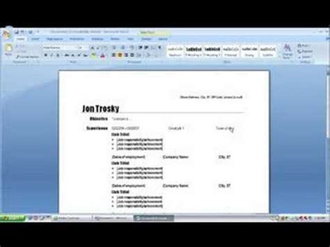 create a resume in ms word 2007