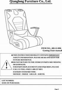 Qianglong Furniture 4001200 Video Gaming Chair User Manual