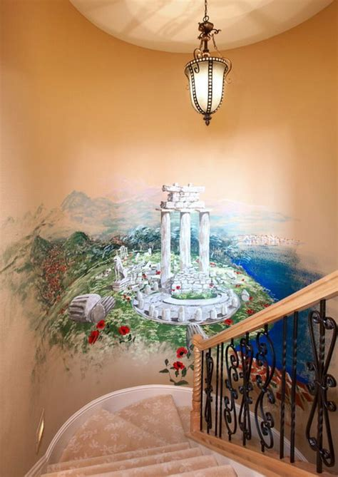 Awesome Traditional Staircase Wall Murals Painting Ideas