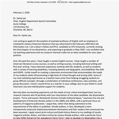 write  academic cover letter  examples
