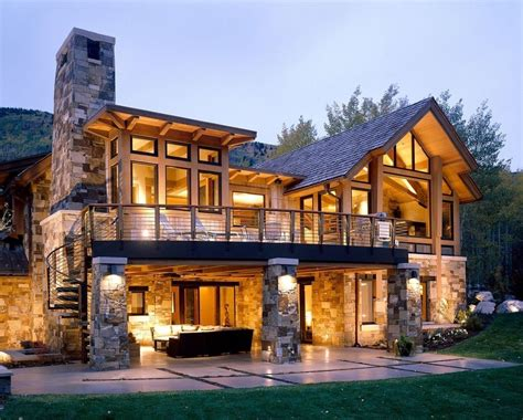 walkout basement house plans   rustic exterior   stacked stone house  aspen projects