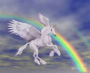 Flying Unicorn And Rainbow Digital Art by Smilin Eyes