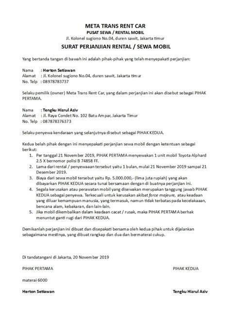 contoh surat perjanjian rental  sewa kendaraan