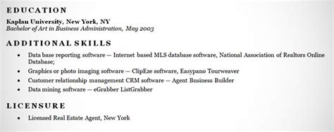 What To Put In The Additional Skills Section Of A Resume by Real Estate Resume Exle Sle