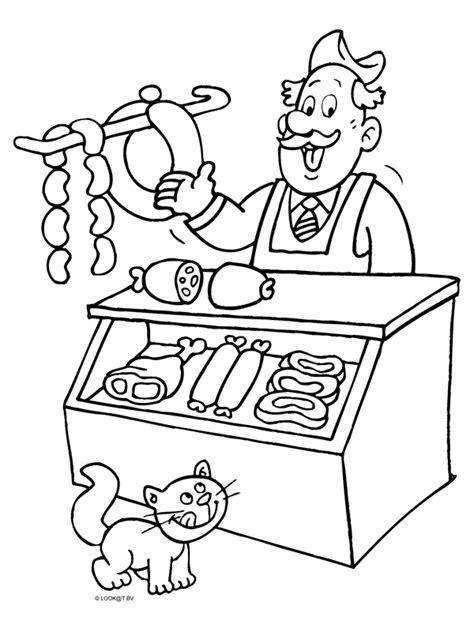 Kleurplaat Slager kleurplaat slager verkoopt vlees kleurplaten nl thema