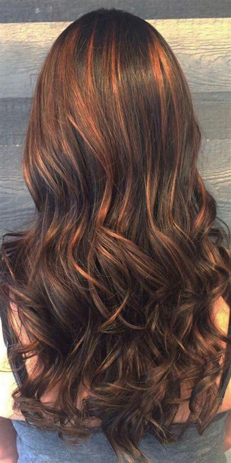 Cheveux Brun Meche Cheveux Brun Chocolat Avec Balayage Cuivre Caramel Cheveux